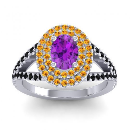 Ornate Oval Halo Dhala Amethyst Ring with Citrine and Black Onyx in 18k White Gold