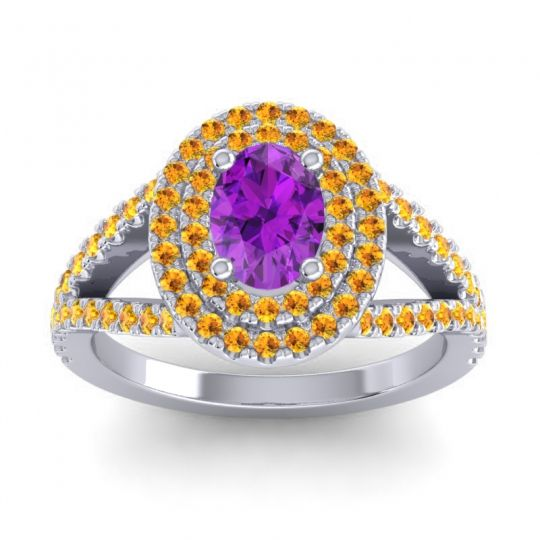 Ornate Oval Halo Dhala Amethyst Ring with Citrine in 14k White Gold