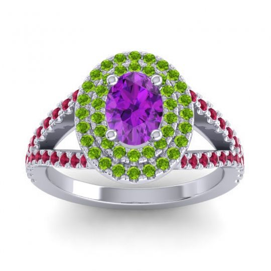 Ornate Oval Halo Dhala Amethyst Ring with Peridot and Ruby in 14k White Gold