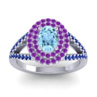 Ornate Oval Halo Dhala Aquamarine Ring with Amethyst and Blue Sapphire in Platinum