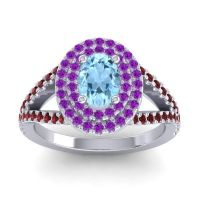 Ornate Oval Halo Dhala Aquamarine Ring with Amethyst and Garnet in Platinum