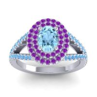 Ornate Oval Halo Dhala Aquamarine Ring with Amethyst and Swiss Blue Topaz in Palladium