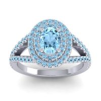 Ornate Oval Halo Dhala Aquamarine Ring in Palladium