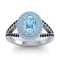 Ornate Oval Halo Dhala Aquamarine Ring with Black Onyx in Platinum