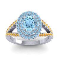 Ornate Oval Halo Dhala Aquamarine Ring with Citrine in Palladium