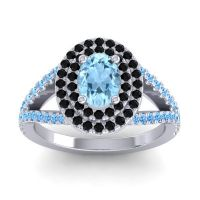 Ornate Oval Halo Dhala Aquamarine Ring with Black Onyx and Swiss Blue Topaz in Palladium