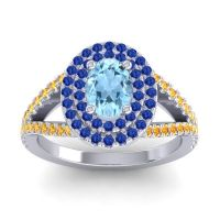 Ornate Oval Halo Dhala Aquamarine Ring with Blue Sapphire and Citrine in Palladium