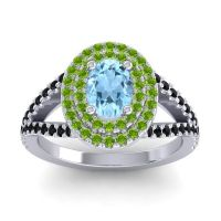Ornate Oval Halo Dhala Aquamarine Ring with Peridot and Black Onyx in 18k White Gold