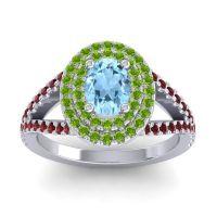 Ornate Oval Halo Dhala Aquamarine Ring with Peridot and Garnet in Palladium