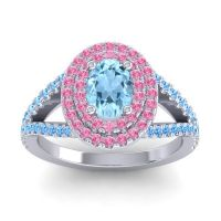 Ornate Oval Halo Dhala Aquamarine Ring with Pink Tourmaline and Swiss Blue Topaz in 14k White Gold