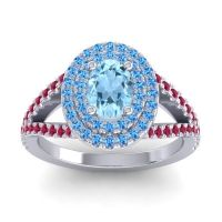 Ornate Oval Halo Dhala Aquamarine Ring with Swiss Blue Topaz and Ruby in Platinum