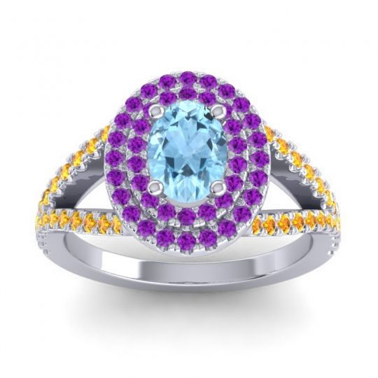Ornate Oval Halo Dhala Aquamarine Ring with Amethyst and Citrine in Platinum