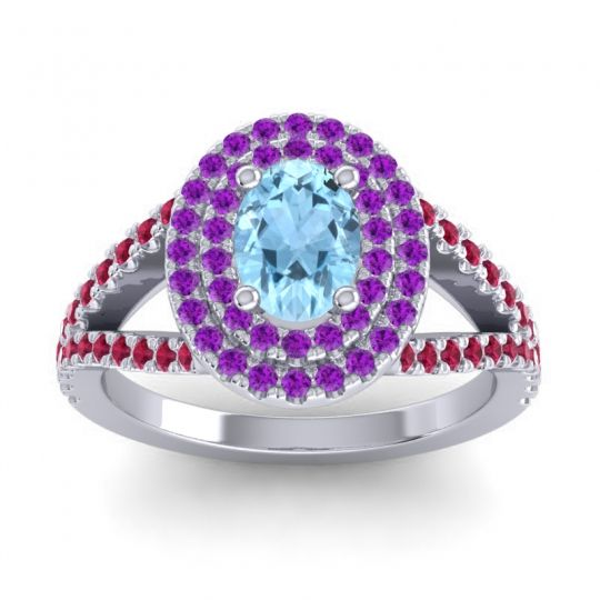 Ornate Oval Halo Dhala Aquamarine Ring with Amethyst and Ruby in Palladium