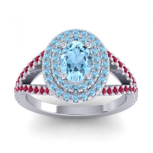 Ornate Oval Halo Dhala Aquamarine Ring with Ruby in Palladium