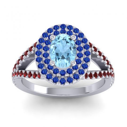 Ornate Oval Halo Dhala Aquamarine Ring with Blue Sapphire and Garnet in Platinum
