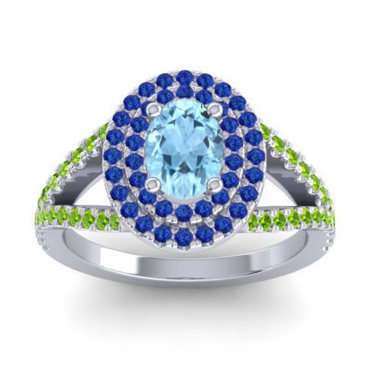 Ornate Oval Halo Dhala Aquamarine Ring with Blue Sapphire and Peridot in Platinum