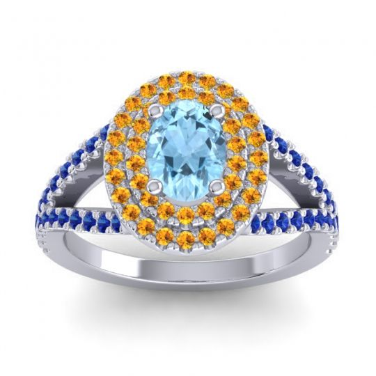 Ornate Oval Halo Dhala Aquamarine Ring with Citrine and Blue Sapphire in 18k White Gold