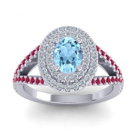 Ornate Oval Halo Dhala Aquamarine Ring with Diamond and Ruby in Palladium