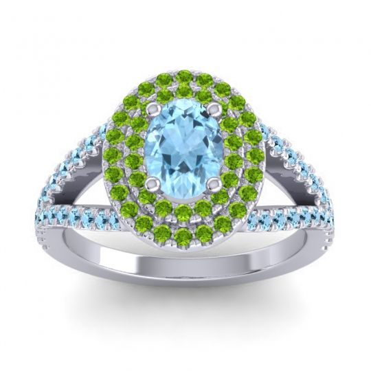 Ornate Oval Halo Dhala Aquamarine Ring with Peridot in Palladium