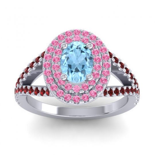 Ornate Oval Halo Dhala Aquamarine Ring with Pink Tourmaline and Garnet in Platinum