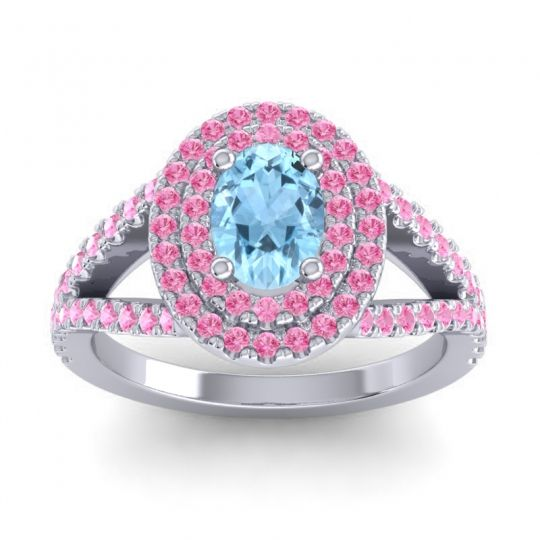 Ornate Oval Halo Dhala Aquamarine Ring with Pink Tourmaline in Palladium