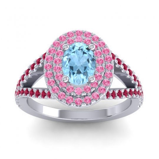 Ornate Oval Halo Dhala Aquamarine Ring with Pink Tourmaline and Ruby in Palladium