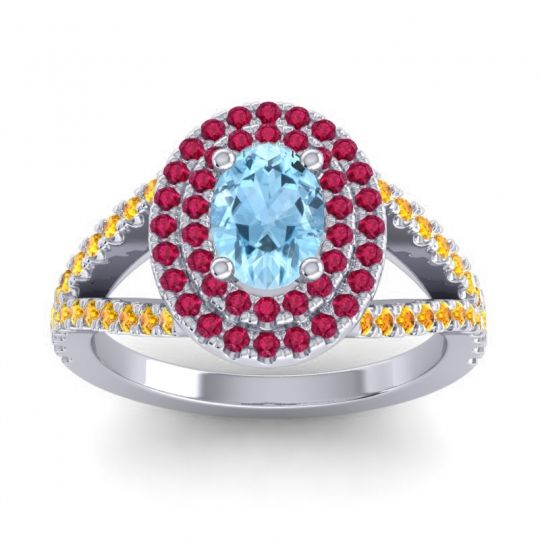 Ornate Oval Halo Dhala Aquamarine Ring with Ruby and Citrine in 14k White Gold