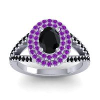 Ornate Oval Halo Dhala Black Onyx Ring with Amethyst in 18k White Gold