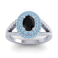 Ornate Oval Halo Dhala Black Onyx Ring with Aquamarine and Diamond in 14k White Gold
