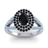 Ornate Oval Halo Dhala Black Onyx Ring with Aquamarine in Platinum