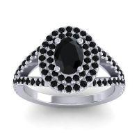 Ornate Oval Halo Dhala Black Onyx Ring in 18k White Gold