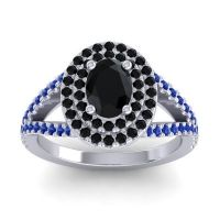Ornate Oval Halo Dhala Black Onyx Ring with Blue Sapphire in Platinum