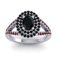 Ornate Oval Halo Dhala Black Onyx Ring with Garnet in 14k White Gold