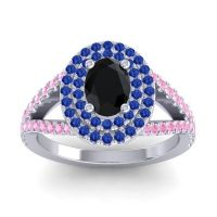Ornate Oval Halo Dhala Black Onyx Ring with Blue Sapphire and Pink Tourmaline in 18k White Gold