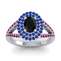 Ornate Oval Halo Dhala Black Onyx Ring with Blue Sapphire and Ruby in 18k White Gold