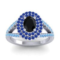 Ornate Oval Halo Dhala Black Onyx Ring with Blue Sapphire and Swiss Blue Topaz in 14k White Gold