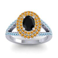 Ornate Oval Halo Dhala Black Onyx Ring with Citrine and Aquamarine in 18k White Gold
