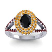 Ornate Oval Halo Dhala Black Onyx Ring with Citrine and Garnet in Platinum