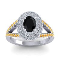 Ornate Oval Halo Dhala Black Onyx Ring with Diamond and Citrine in 14k White Gold