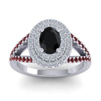 Ornate Oval Halo Dhala Black Onyx Ring with Diamond and Garnet in Palladium