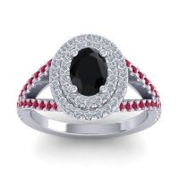 Ornate Oval Halo Dhala Black Onyx Ring with Diamond and Ruby in 14k White Gold