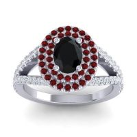 Ornate Oval Halo Dhala Black Onyx Ring with Garnet and Diamond in Platinum