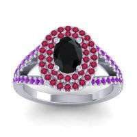 Ornate Oval Halo Dhala Black Onyx Ring with Ruby and Amethyst in 18k White Gold
