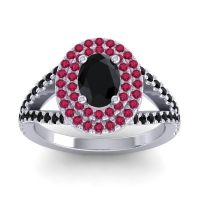 Ornate Oval Halo Dhala Black Onyx Ring with Ruby in 14k White Gold