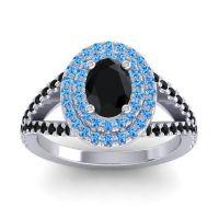 Ornate Oval Halo Dhala Black Onyx Ring with Swiss Blue Topaz in Palladium