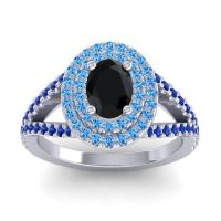 Ornate Oval Halo Dhala Black Onyx Ring with Swiss Blue Topaz and Blue Sapphire in Platinum