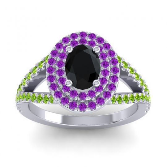 Ornate Oval Halo Dhala Black Onyx Ring with Amethyst and Peridot in Palladium