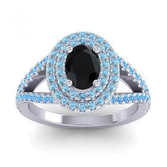 Ornate Oval Halo Dhala Black Onyx Ring with Aquamarine and Swiss Blue Topaz in Platinum