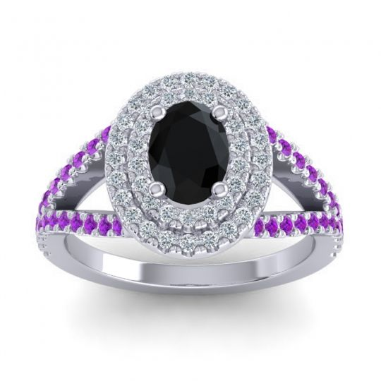 Ornate Oval Halo Dhala Black Onyx Ring with Diamond and Amethyst in 14k White Gold
