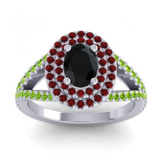 Ornate Oval Halo Dhala Black Onyx Ring with Garnet and Peridot in 14k White Gold